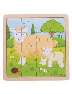 Bigjigs Toys Houten Puzzel 'Schaap met Lammetje' (16st.)
