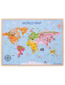 Bigjigs Toys Houten Puzzel 'Wereldkaart' (35st.)
