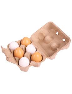 Bigjigs Toys Eierdoos met 6 Houten Eieren