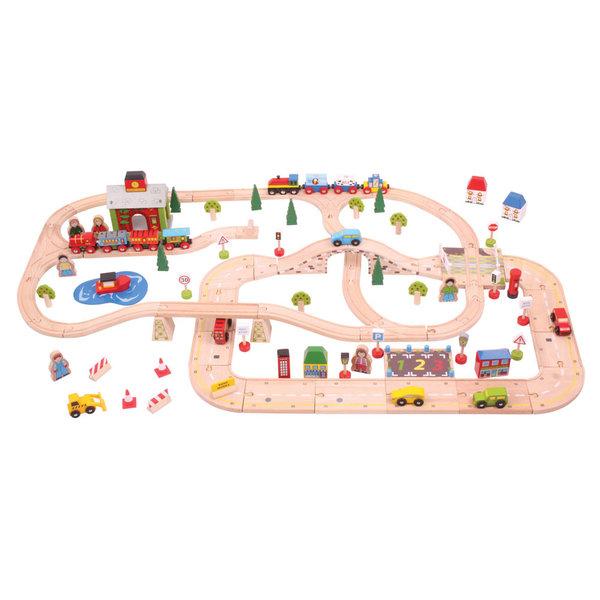 Bigjigs Rail Houten Stadsweg- en Spoorwegset