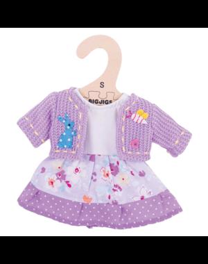 Bigjigs Toys Kleding voor lappenpop 'Lila jurk en vest'