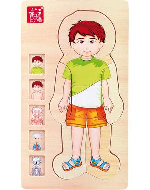 Small Foot Laagjes Puzzel 'Anatomie Jongen'