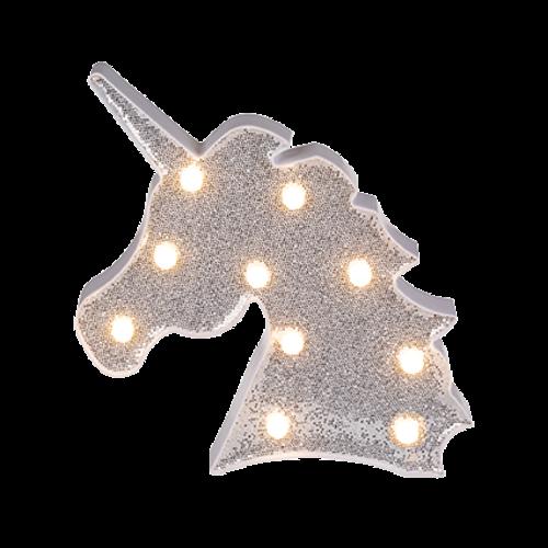 UNICORN GLITTER LED LICHT 2 ASST