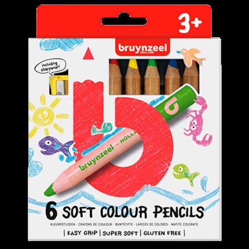 Bruynzeel Kids zachte kleurpotloden set 6