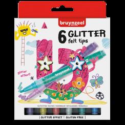 Kids glitter viltstiften set 6