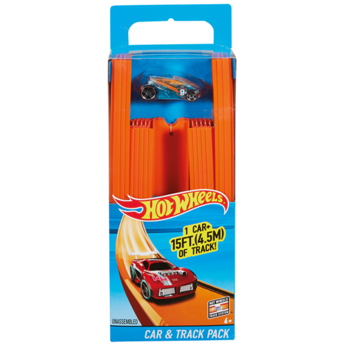 HOT WHEELS TRACK BUILDERS RECHTE BAANSTUKKEN MET AUTO