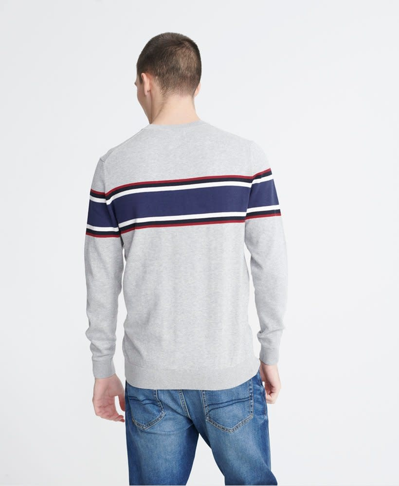 superdry Trophy stripe crew jumper,