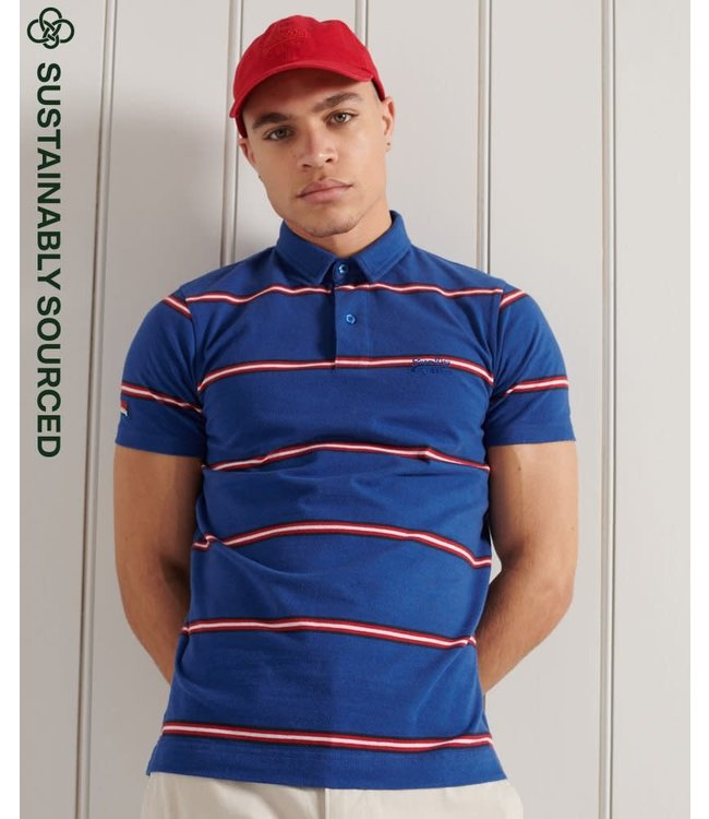 superdry Superdry Organic Cotton Academy Stripe Polo Shirt