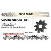 """Carving Umrüstung 1/4"""" 25cm Dolmar ES - 31A / 32A / 36A / 37A / 4A / 40A / 41A / 5A elektrische Kettensäge komplett Satz"""
