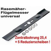 Rasenmähermesser 45cm Rasenmäher Flügelmesser universal mit Mittelzentrierung - Adapterscheiben
