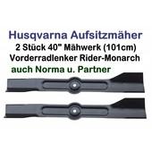 Rasenmähermesser 101cm Flügelmesser Husqvarna Rider-Monarch Satz 2 Stck auch Noma u. Partner