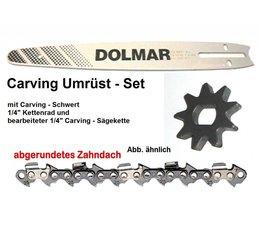 "Carving Umrüstsatz 1/4"" 25cm Dolmar ES-33A / 38A / 42A Elektro- Kettensäge Kettenrad + Schwert + Sägekette"