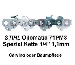 """Carving Sägekette 1/4"""" 60 Trgl. 1,1 Nut für 25cm Schnittlänge Stihl Micro 71PM3 auch Baumpflege"""