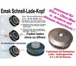 Freischneider Fadenkopf für Efco Oleo-Mac Motorsensen Quick-Load 2,4mm 8x1,25 li außen