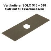 Vertikutierer Solo 516 + 518 Ersatzmesser 1 Satz 15 Stück + 2 Wellenlager