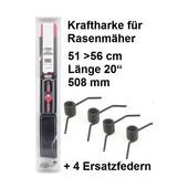 """Vertikutiermesser Kraftharke 20"""" für 51 > 56cm Schnittbr. + 4 Ersatzfedern auch MTD Rasenmäher"""