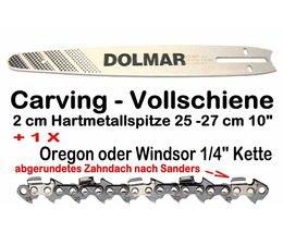 """Carving - Schwert Führungsschiene 25 cm + 1/4"""" Kette mit bearbeitetem Zahndach als Verschleißersatz"""