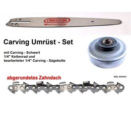 "Umrüstsatz Husqvarna 39 140 240 340a 44 Kettensäge Carvingschwert Oregon 30cm + 1/4"" Kettenrad + Sägekette"