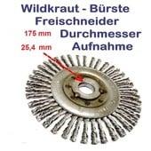 Wildkrautbürste 175mm Durchmesser 25,4mm Aufnahme-Scheibe radiale Drahtbürste für Freischneider / Motorsense