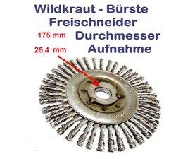 Wildkrautbürste 175mm Durchmesser 25,4mm Aufnahme-Ausgleichscheibe radiale Drahtbürste für Freischneider / Motorsense
