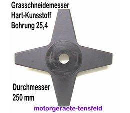 Grasmesser Kunststoff 4-Zahn 250 Durchmesser 25,4mm Aufnahme grau beige o. rot für Freischeider Motorsense 2 Stck.