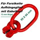 Aufhängeglied Forstkette 95 x 54 x 13mm Öse mit Gabelkopf 8mm G8 für Lasten- o. Rückekette
