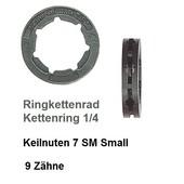 """Kettenrad 1/4"""" Kettenteilung Carving Kettenring 9 Zähne für Ringkettenrad Keilverzahnung SM 7 small 7 Keile"""