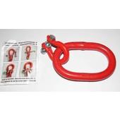 Aufhängeglied  Forstkette  135 x 75 x 18mm Öse mit Unilock Glied für 10mm Ketten Güte G8 rot