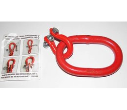 Aufhängeglied  Forstkette  135 x 75 x 18mm Öse mit Unilock-Glied für 10mm Ketten Güte G8 rot