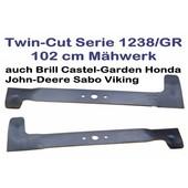 Rasenmähermesser 102cm Windflügelmesser Satz Castel Garden TC102 Twin-Cut 1238/GR auch Dolmar Stiga