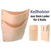 Forst Holster Keilholster Keiltasche 3mm Leder für 2 Stck Forstkeil / Fällkeil m Gürtel-Befest