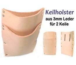 Keilholster Keiltasche 3mm Leder für 2 Stck Forstkeil / Fällkeil m Gürtel-Befest