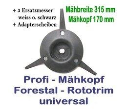 Freischneider Mähkopf Rototrim Profi 3 bewegliche Messer + 3 Ersatzmesser Motorsense