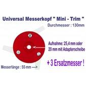Freischneider Mähkopf Mini-Trim 3 bewegl. Messer 55mm 130 mm Kopf  + 3 Ersatzmesser für Motorsense