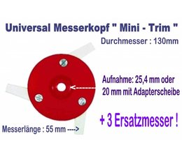 Freischneider Mähkopf Mini-Trim 3 bewegl. Messer 55mm 130mm Kopf  + 3 Ersatzmesser für Motorsense