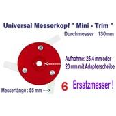 Freischneider Mähkopf Mini-Trim 3 bewegl. Messer 55mm 130 mm Kopf  + 6 Ersatzmesser für Motorsense