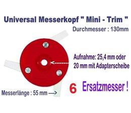 Freischneider Mähkopf Mini-Trim 3 bewegl. Messer 55mm 130mm Kopf  + 6 Ersatzmesser für Motorsense