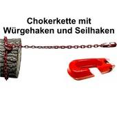 Forstkette Rückekette 4-Kant 8mm 3,0m G8 mit Schlinghaken + Seilhaken bis 16mm Seil