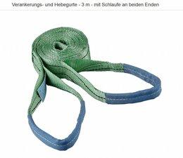 Hebegurt Gurt zur Verankerung für Seilzug Greifzug L. 3m Breite 60mm 2 Schlaufen