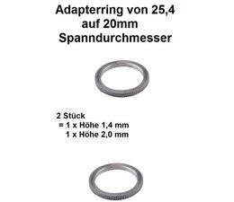 Adapterringe Reduzierringe Satz 2 Stück für Sägeblätter und Freischneidermesser von 25,4 auf 20mm Spannlochdurchmesser