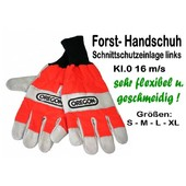 Schnittschutzhandschuh Gr.9 -M- mit Schnittschutz links Forsthandschuh für Kettensäge Kl.1