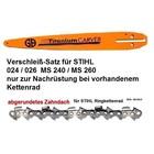 """Carvingschwert 35cm GB für Stihl 024 026 MS240 MS260 + 1/4"""" Kette als Verschleiß-Set ohne Kettenrad"""