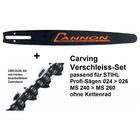 """Carvingschwert 40cm Cannon für Stihl 024 026 MS240 MS260 + 1/4"""" Kette als Verschleiß-Set ohne Kettenrad"""