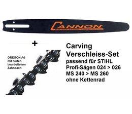 """Carving - Schwert 40cm Cannon als Verschleiß-Set ohne Kettenrad für Stihl 024 026 MS240 MS260 + 1/4"""" Kette"""