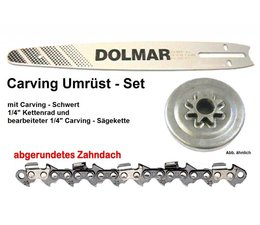 """Carving Umrüstsatz auf 1/4"""" für Kettensäge PS 32 + PS 35 C+TLC mit Schwert 30cm + Kettenrad + Sägekette"""