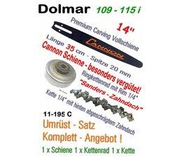 Umrüstsatz  MakitaDC8 340 DC8 520i DC8 4300 DC8 5200i Kettensäge Cannon-Schwert + Kettenrad + Carvingkette