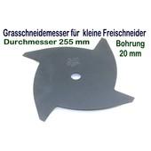 Wirbelmesser Gras - u. Dickichtmesser 255 / 20 mm 4 Zahn für leichte Freischneider