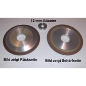 Schleifscheibe Diamantscheibe Schärfscheibe für Stihl Duro Hartmetall Sägekette mit Adapter für 12mm Bohrung silizium-korund