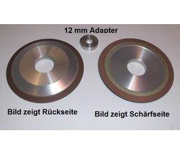 Diamantscheibe silizium-korund mit Adapter für 12mm Bohrung Schärfscheibe für Stihl Schärfgeräte und Duro Hartmetall Sägekette