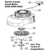 Starter komplett Emak Motoren K500 K600 K650 Rasenmäher efco  Oleo-Mac Victus Dynamac